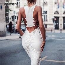 Jeninstar Backless Bandage Pleated Sexy Bodycon Dress Skinny Sleeveless O-neck Summer Dress Women Casual Club Party Dress Long цена и фото