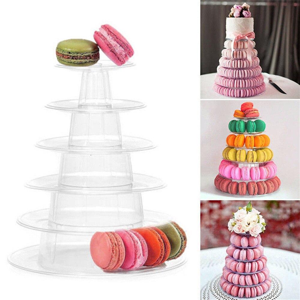 6 ярусов Макарон Дисплей стенд башня из кексов стойка подставка для свадебного торта ПВХ лоток для свадеб, дней рождения, инструменты для ук...