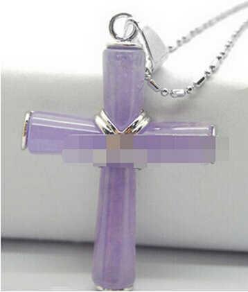 + + + 830 神祝福クロス紫色のヒスイのネックレスペンダント