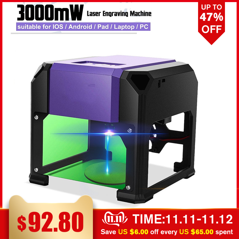 3000mW USB Desktop Laser Engraving Machine DIY Logo Mark Printer Cutter CNC Laser Carving Machine FOR WIN/Mac OS System