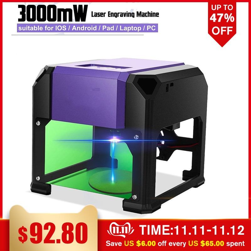 3000mW USB Desktop Laser Engraving Machine DIY Logo Mark Printer Cutter CNC Laser Carving Machine FOR WIN/Mac OS System