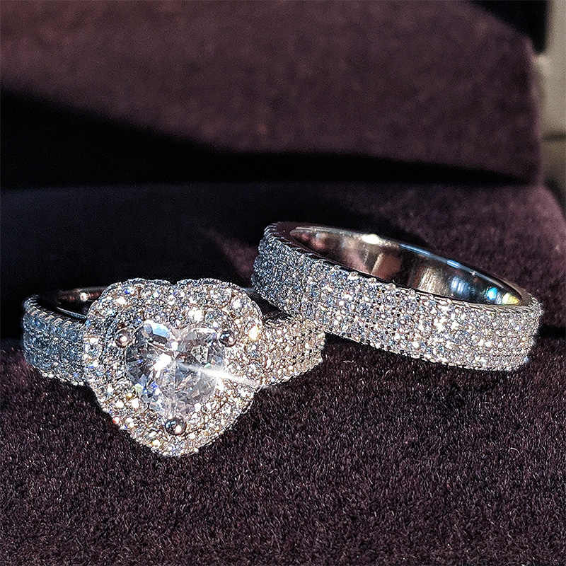 Original 925 Sterling Silver Heart CUT zircon ชุดแต่งงานสำหรับเจ้าสาวหมั้นเครื่องประดับวง Eternity ไนจีเรีย R4864