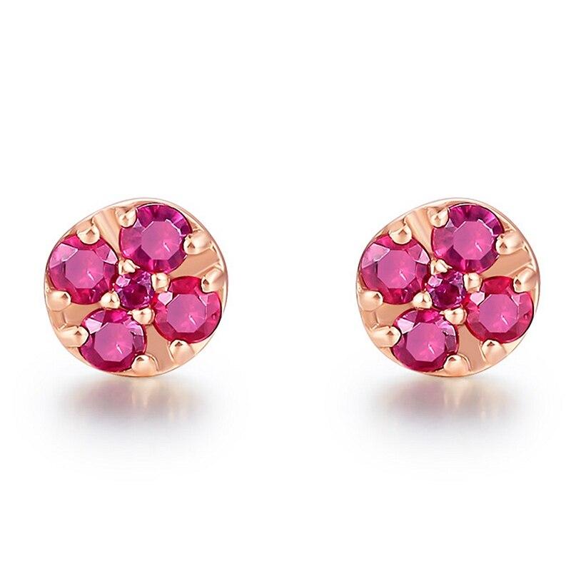 Solide 14k or Rose naturel rubis femmes boucles d'oreilles de fiançailles de mariage bijoux fins - 3