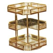 Caja de almacenaje para maquillaje giratoria de 360 grados 3 capa de almacenamiento de vidrio encimera de baño tocador Vintage Caja de almacenaje para maquillaje Suita