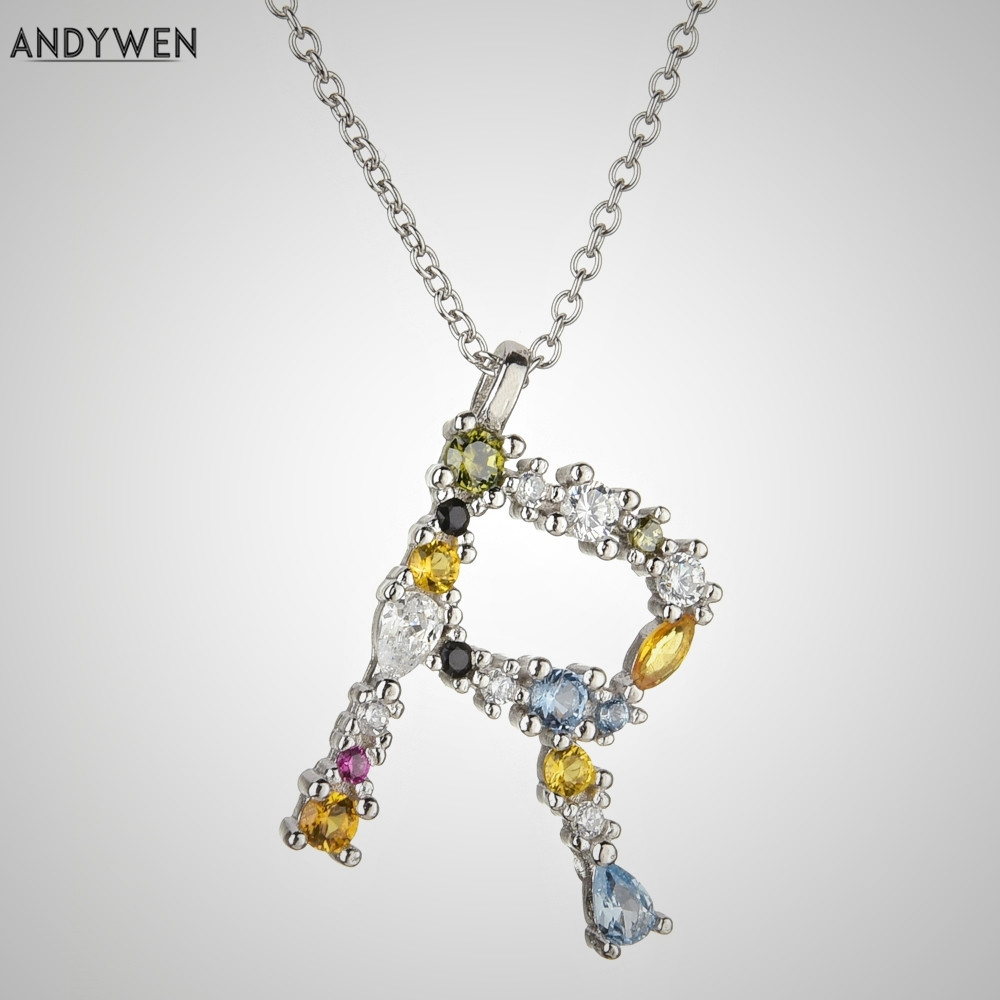925 Sterling Silver A-Z Letter Crystal Gem Personalised Pendant Chain Necklace