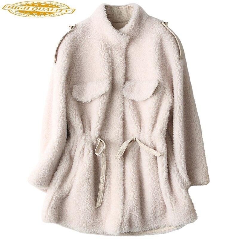 Sheep Shearing Coats Korean Fashion Real Wool Fur Coat Female 2020 Thick Warm Medium Length Winter Jacket Women WPHPC63