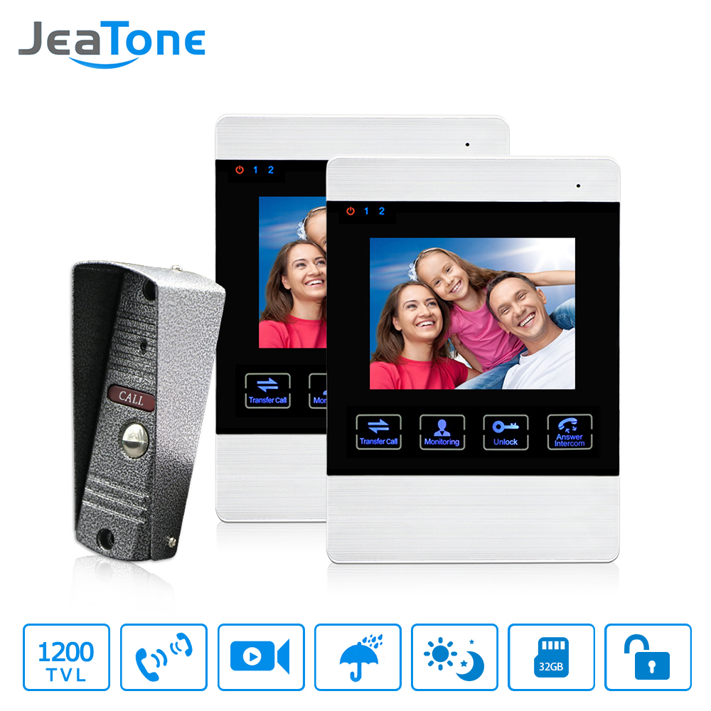 JeaTone 4 Inch Visual Video Door Phone Doorbell Camera Wire Drawing Acrylic Case Monitor Door Alarm Entry Home Intercom System