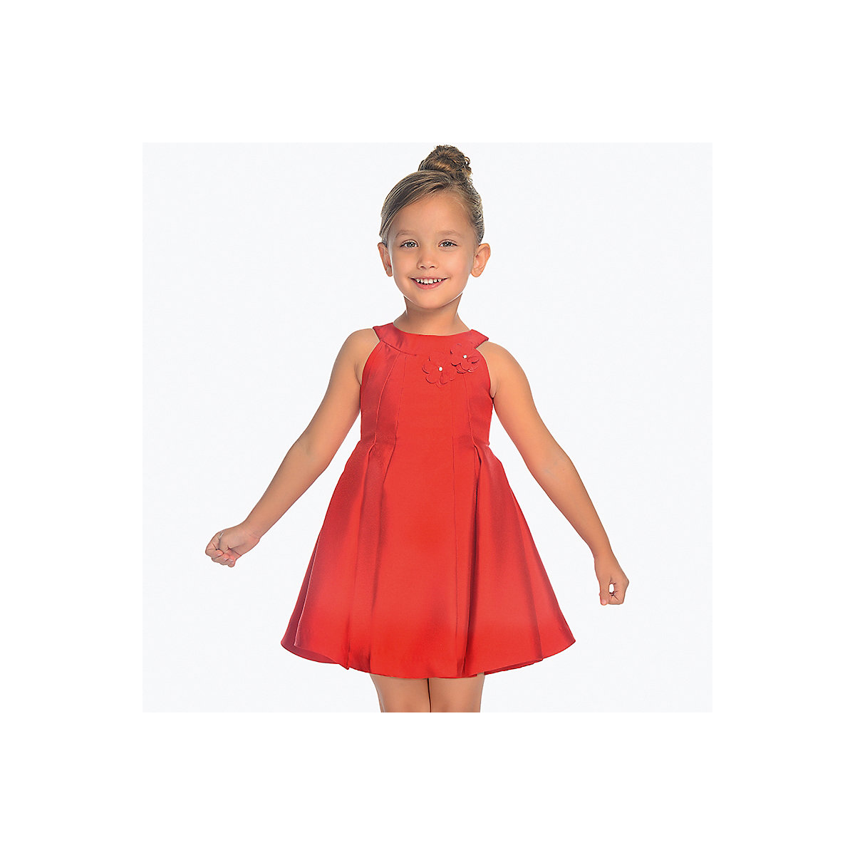 MAYORAL Dresses 10687142 Girl Children Party fitted pleated skirt Red Polyester Preppy Style Solid Knee-Length Sleeveless Sleeve