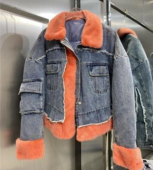 Real Fur Women Coats 2020 Winter Fashion Natural Mink Jacket Female Denim Filled White Duck Down Outerwear