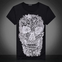 White t shirt 3D Skull tshirt Unisex Men T-shirt Male Top Summer Tee Quality Camiseta Short Sleeve O-neck Hip Hop Cool Tee Male(China)