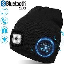 Теплая Шапочка Bluetooth 5,0 светодиодный головной убор Беспроводной стерео гарнитура музыкальный плеер с микрофоном для громкой связи Bluetooth гар...