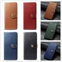 Per il caso di Samsung Galaxy S8 S9 Più S7 S6 Bordo Nota 8 Note8 Copertina del Libro Sansung Samsun Galaxi di Cuoio di Lusso bottone in metallo Hoesje