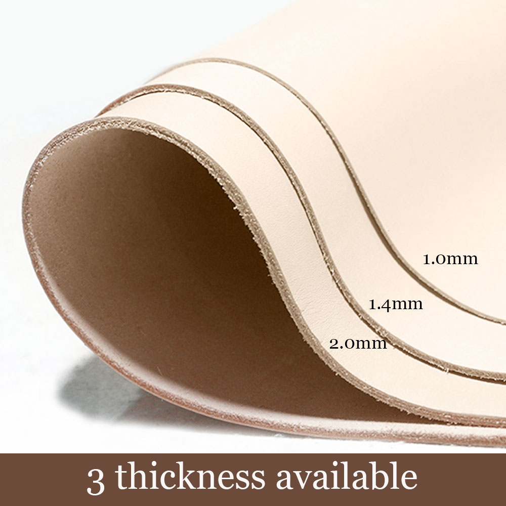 Vegetable Tanned Leather Thick Genuine Leather Skin Cowhide Carving France Imported Leather Pre Cut Piece 3 Thickness Available