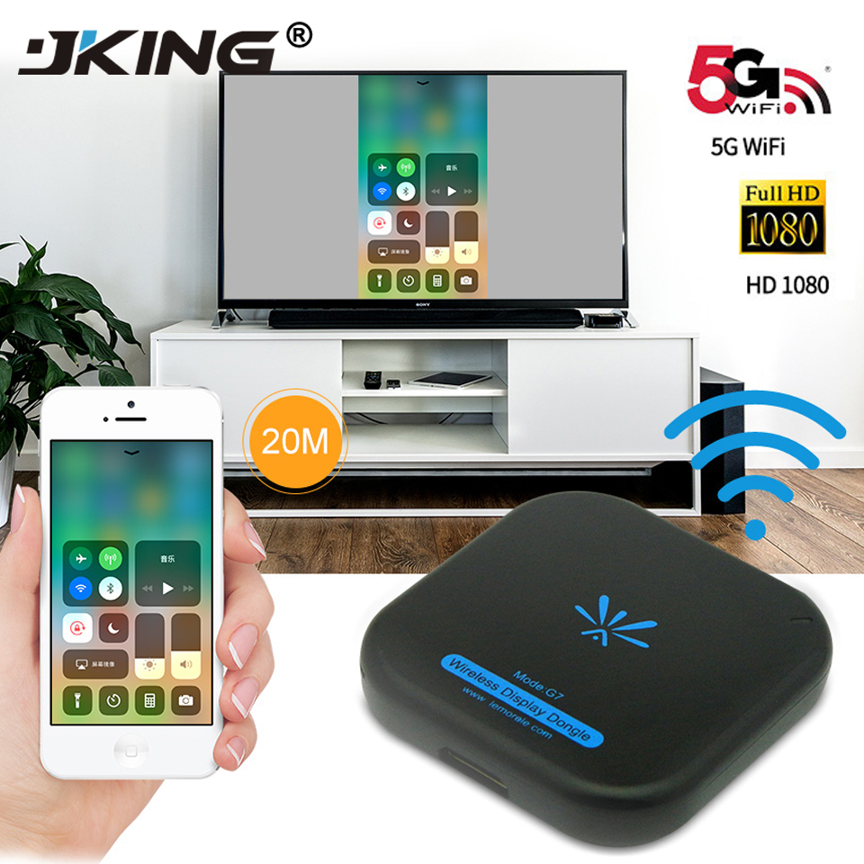 JKING nueva TV Stick Mirascreen G7 5Ghz de alta velocidad WiFi Display TV Dongle soporte Miracast Airplay DLNA para Apple android El más nuevo 1080P Anycast m4plus TV Dongle 2 reflejo múltiples TV stick adaptador Mini Android cromo fundido Dongle WiFi HDMI cualquier fundido