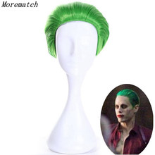 цены Suicide Squad The Joker Green Wig Cosplay Costume Short Hair Halloween Party Wigs+wig cap