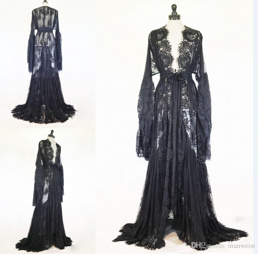 Women Winter Robe Black White Sexy Nightgown Sheer Lace Sleepwear Long Bathrobe Pajamas New Prom Bridesmaid Shawel