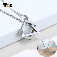Vnox Stylish Men's Geometric Necklace Minimalist Stainless Steel Rock Punk Triangle and Square Pendant Jewelry