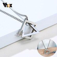 Vnox-collar geométrico minimalista para hombre, joyería de acero inoxidable, Rock Punk, triangular y Colgante cuadrado