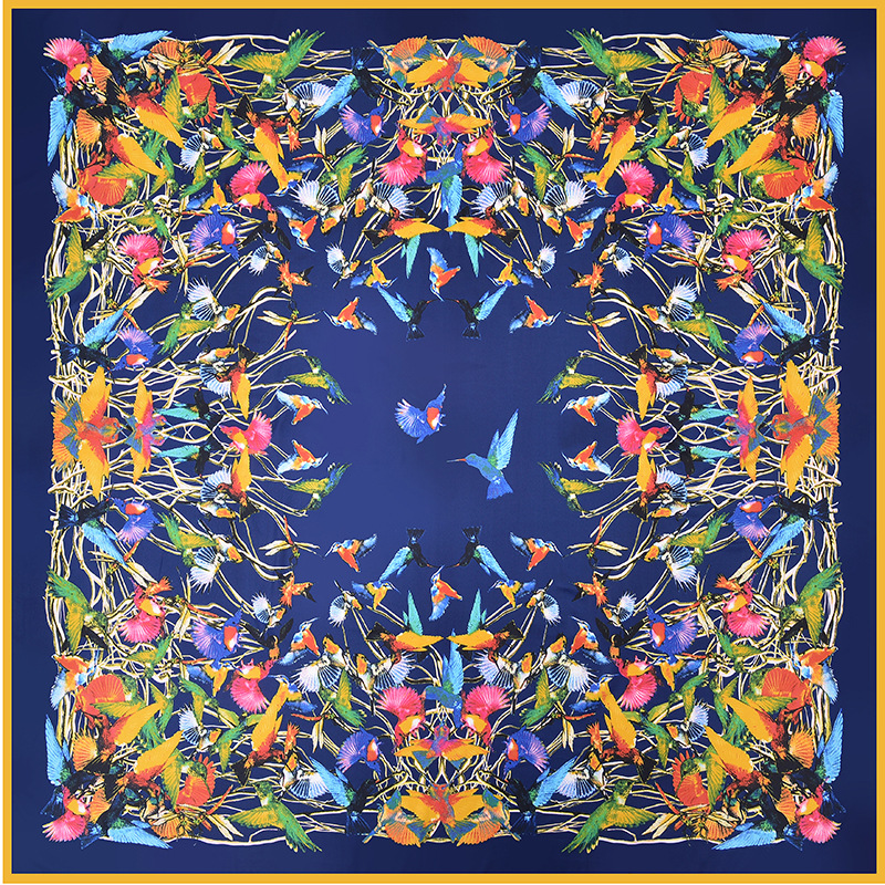 New Arrival 2019 Twill Silk Square Scarf Women 100% Real Silk Fashion Yellow / Blue / Black Printed Bird Square Scarf Silk Gifts