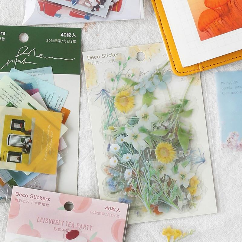 JIANWU 40sheets Vintage Flowers Series Sticker Bag Pet Diary Decoration Sticker Bullet Journal Kawaii Stationary Stickers Kawaii