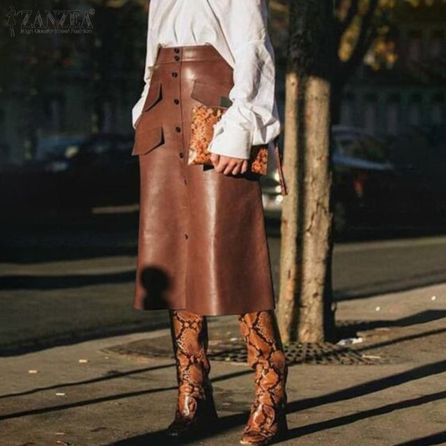 Stylish Button Skirts Women's PU Leather Vestidos ZANZEA 2020 High Waist Split Pockets Midi Skirts Female Solid Robe Plus Size 2