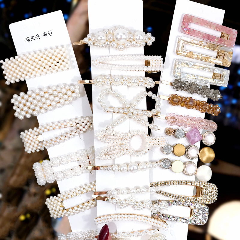 1Set Popular Pearl Hair Clips Fashionable Woman Summer Hair accessories Hairpins BB Clip Styling Tools Barrettes Headwear