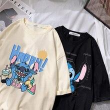 Disney Stich T-shirt damen sommer cartoon top T-shirt mnner und frauen mit der gleichen weien T-shirt boden heier verkauf