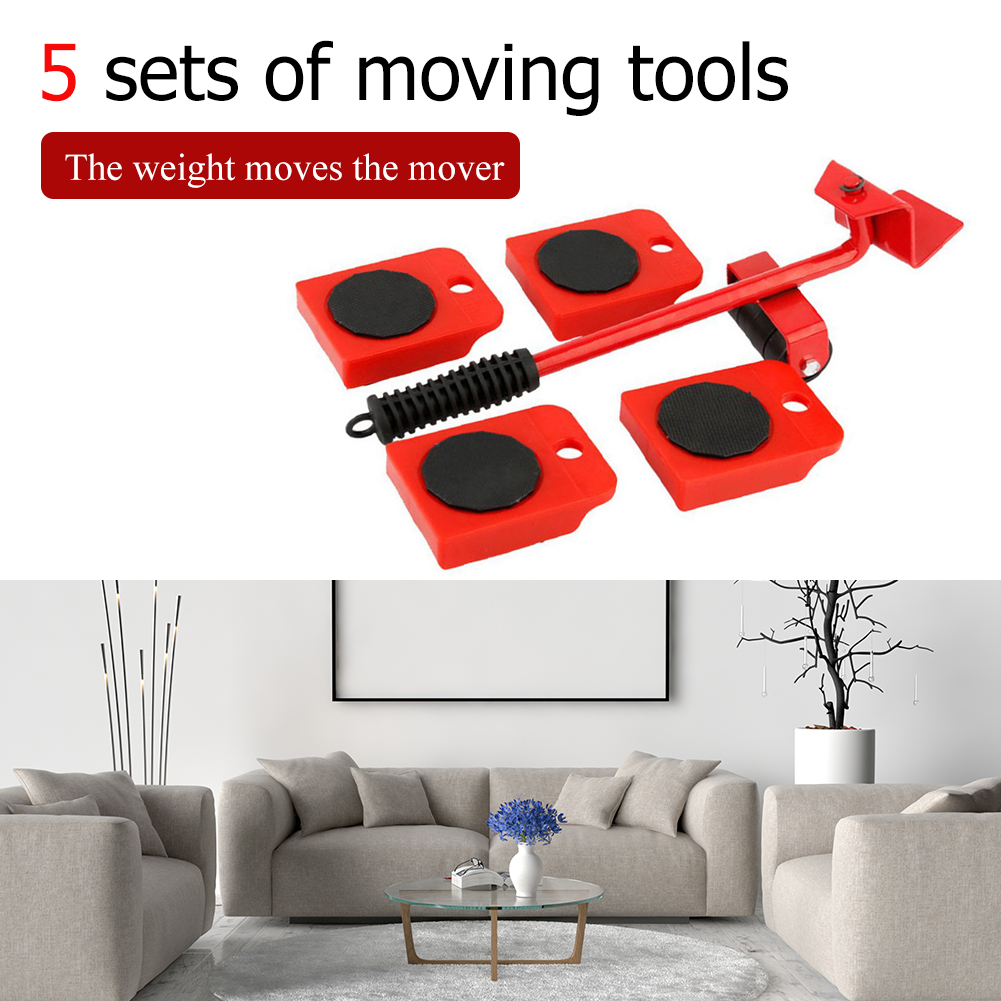 5Pcs Furniture Lifter Sliders Kit Profession Heavy Furniture Roller Move Tool Set Wheel Bar Mover Device Max Up for 100Kg/220Lbs-2