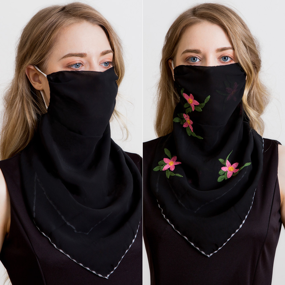 2020 Fashion Sunscreen Mask Neck Protection Thin Summer Breathable Scarf Covering Chiffon Triangle Scarf Outdoor Riding