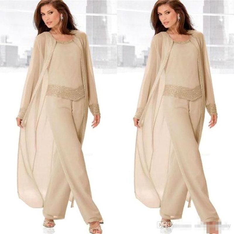 2019 mère de la mariée pantalon costumes 3 pièces longue veste mère de la mariée robes pleine robe de mariée marraine grande taille