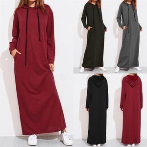 Muslim Fashion Abaya Women Dress Islamic European Clothing Dubai Caftan Vestido Female Turkey Solid Color Hooded Long Abaya Robe