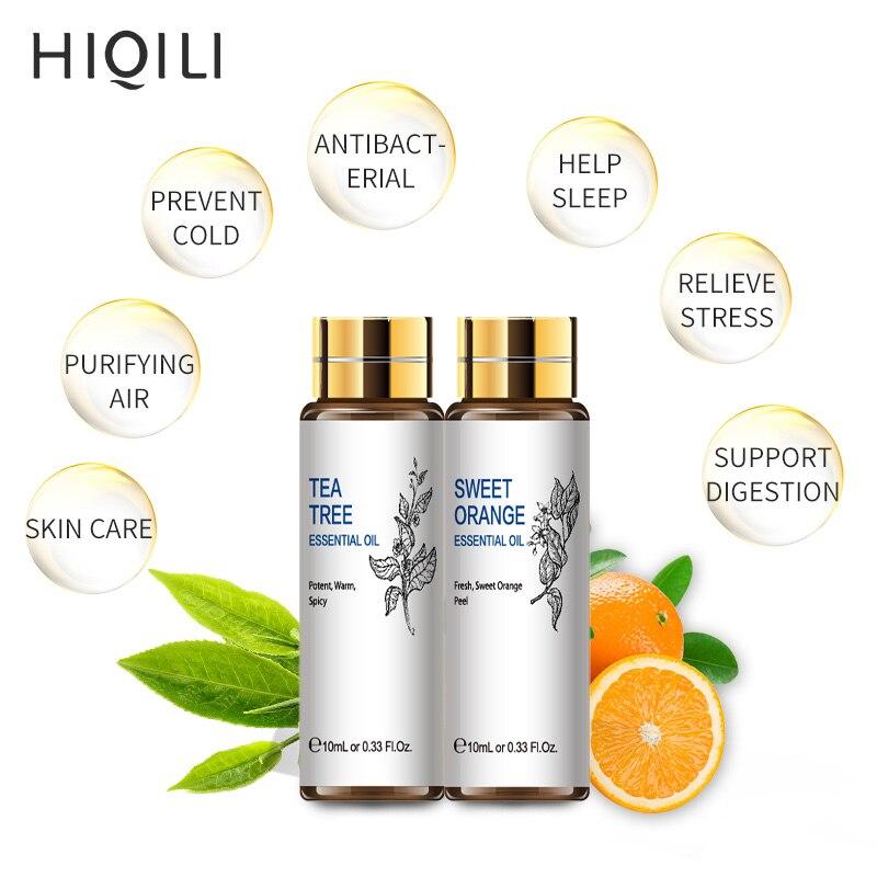 HIQILI Orange Tea Tree Essential Oils 10ML Diffuser Aroma Oil Eucalyptus Vanilla Bergamot Lemongrass Rosemary Chamomile Oil-3