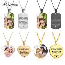 Colar de corrente de ouro da foto do nome personalizado da placa de identificação do colar redondo da forma do coração do dia das mães