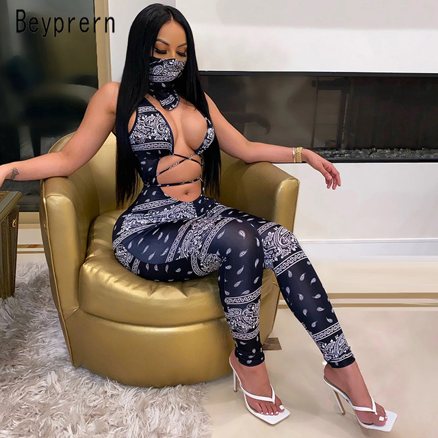 Beyprern Vintage Hollow Out Printed Laced Jumpsuit With Scarf Women Sexy Cut Out Bandage Long Pants Jumpsuit Romper Club Outfits 1