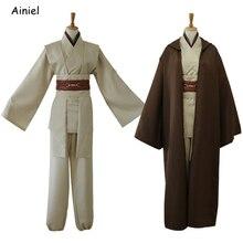 Yıldız 9 Jedi şövalye Cosplay kostümleri Wars takım elbise Mace Windu üniforma Obi Wan Kenobi pelerin Ahsoka Tano cadılar bayramı partisi erkekler yetişkin