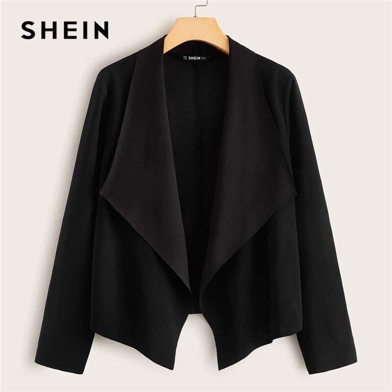 SHEIN Black Solid Waterfall Collar Open Front Jacket Coat Women Spring Long Sleeve Asymmetrical Hem Office Ladies Casual Coats 1