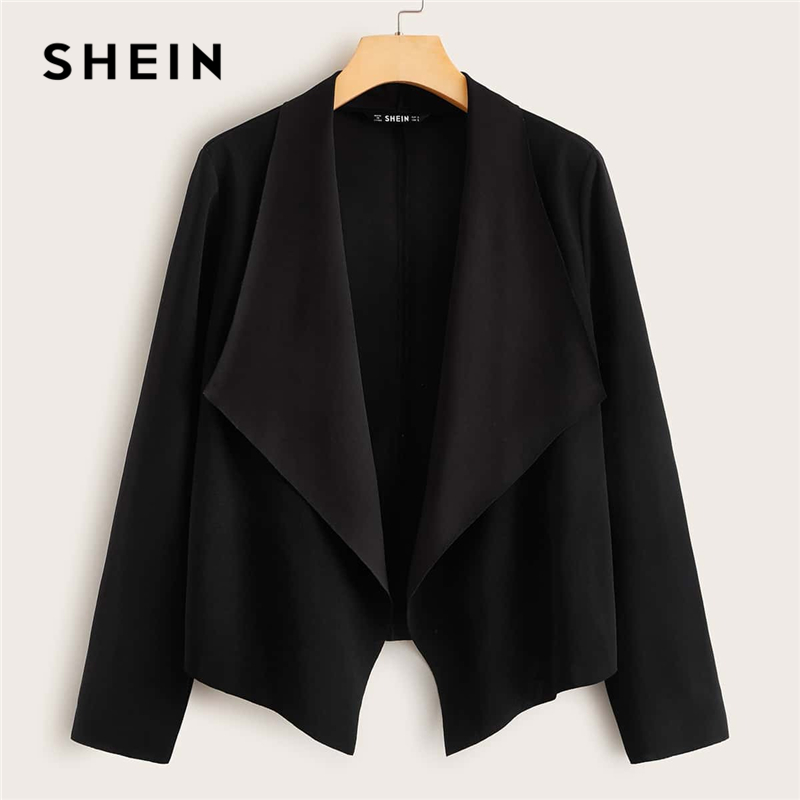 SHEIN Black Solid Waterfall Collar Open Front Jacket Coat Women Spring Long Sleeve Asymmetrical Hem Office Ladies Casual Coats