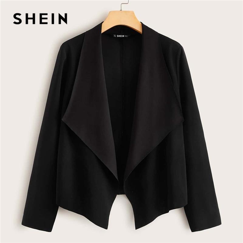 SHEIN Black Solid Waterfall Collar Open Front Jacket Coat Women Spring Long Sleeve Asymmetrical Hem Office Ladies Casual Coats