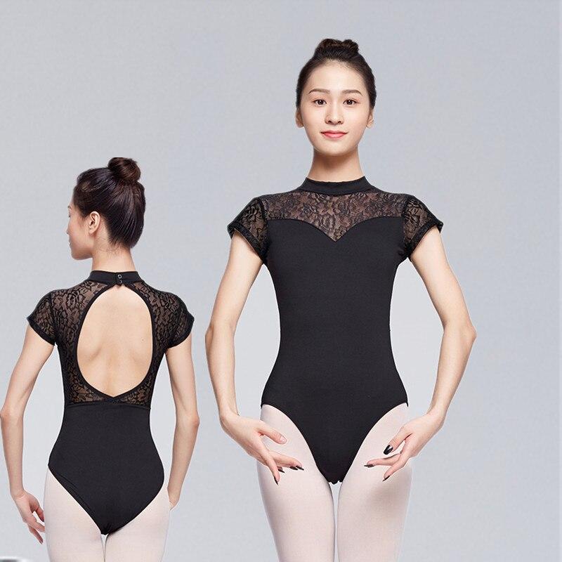 בלט בגד גוף עבור Wome למבוגרים ריקוד כותנה תחרה קצר שרוול בגד גוף תחפושת בלט מקצועי למבוגרים סקסי התעמלות בגדי גוף