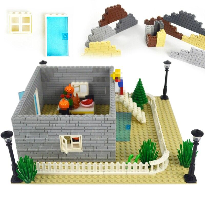 Building Blocks Doors Windows Thick Wall DIY Bricks 1x2 1x3 1x4 Dots MOC Accessories Educational Compatible Legoed Toy For Kids