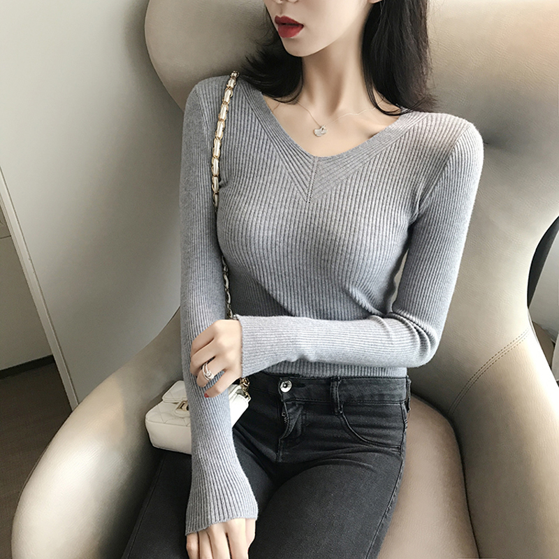 Lucyever New 2020 Autumn Pullover Women Sweater Sexy V Neck Knit Jumper Basic Top Fashion Casual Solid Female Winter Sweater