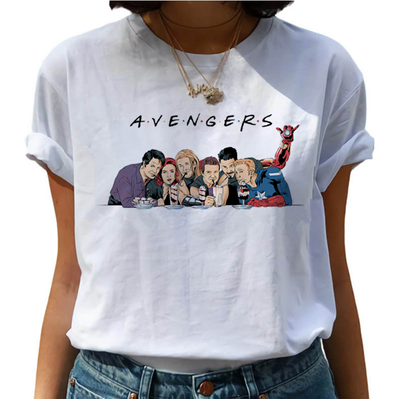 Friends Tv Shows Harajuku T Shirts Women Funny Avengers Cartoon T-shirts Best Friends 90s Tshirt Fashion Graphic Top Tees Female