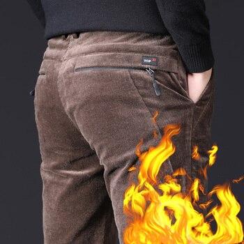 Men's Winter Pants Thick Cotton Fleece Warm Zipper Pocket Black Brown Male Straight Trousers Stretch Casual Corduroy - discount item  68% OFF Pants