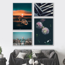 Flower Sunset White Haired Boy Wall Art Canvas Painting Nordic Posters And Prints Landscape Pictures For Living Room Decor