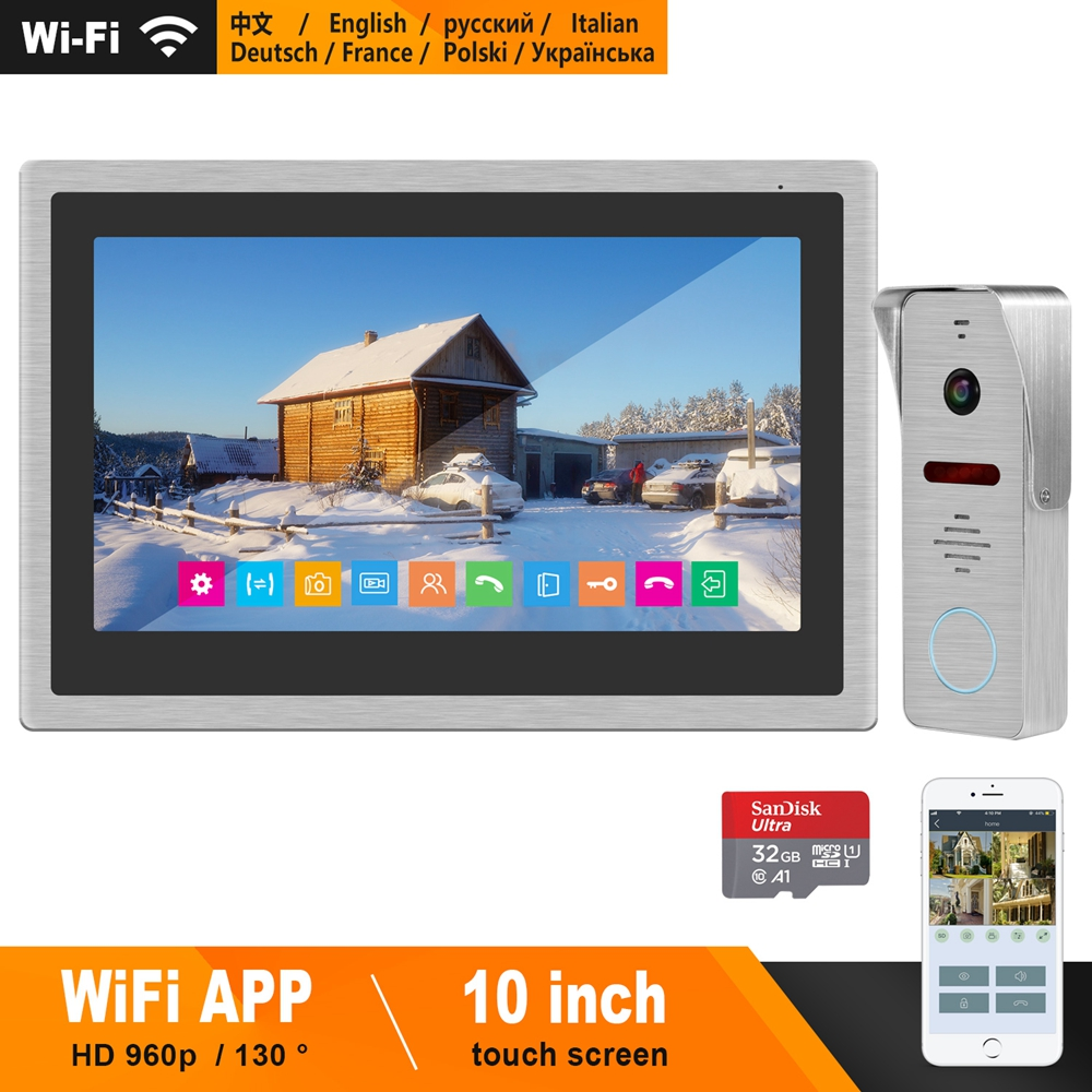 HomeFong Wireless Video Intercom IP Video Door Phone Wifi 10 Inch Touch Screen Monitor 960p Doorbell Camera Home Intercom System