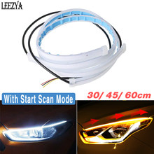 2X LED DRL Headlight Strip Lights Sequential Turn Signal Indicator White Daytime Running Light Car Side Lamp Flexible Tube 12V