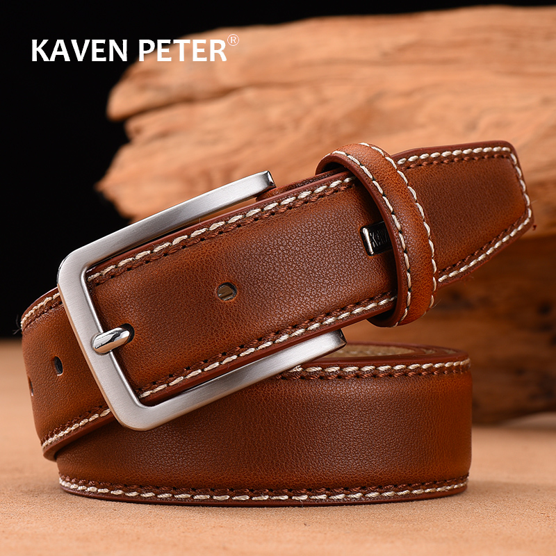 New Fashion Classic Vintage Pin Buckle Leather Belt Male Belt Men Cow Genuine Leather Luxury Strap Male Belts For Men
