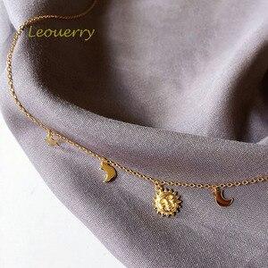 Image 3 - Leouerry 925 スターリングシルバー美しい日月スターネックレス 14 18k ゴールドメッキ鎖骨チェーンネックレス女性のためのシンプルなジュエリー