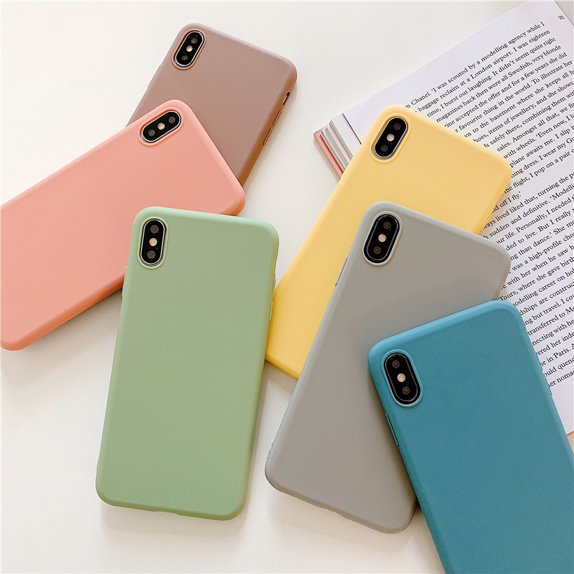 Candy Color Case For OPPO Reno Z <font><b>2</b></font> Realme C2 X XT X2 5 <font><b>3</b></font> Pro A9 2020 A11X F11 Pro A1K A7 A5 Case Luxury Soft TPU Back Cover image