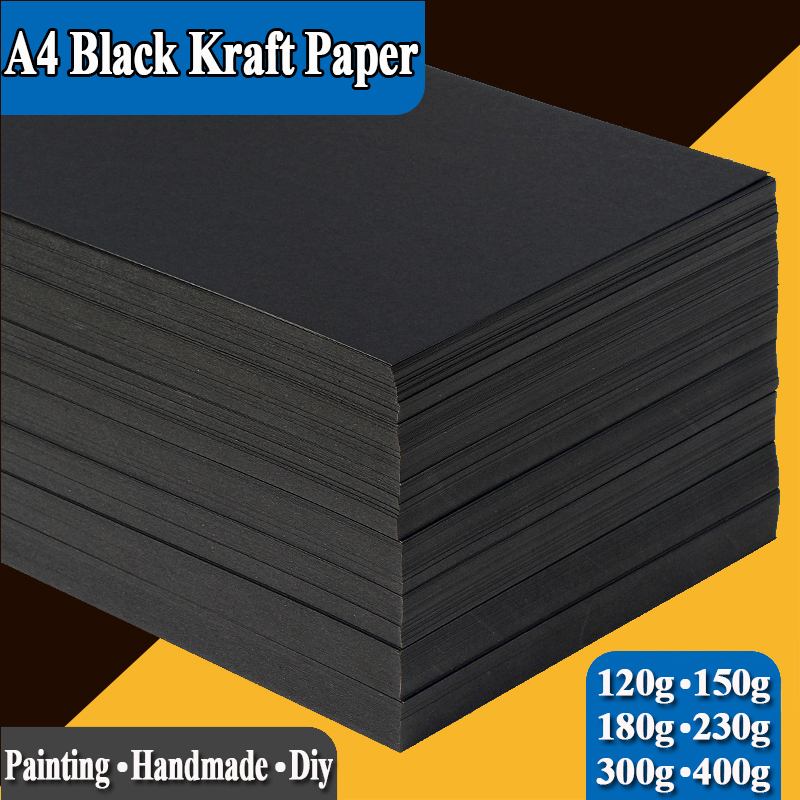 A4 Black Kraft Paper Handmade DIY Card Board Craft Paper Thick Pultipurpose Cardstock Graffiti Paperboard 20 50 Sheets Pack